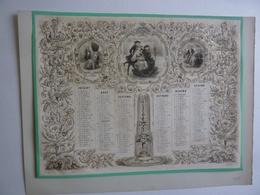 LITHOGRAPHIE ALMANACH  CALENDRIER  2ème SEMESTRIEL 1857  Allegorie Séduction   Idylle  S 4 P - Calendari