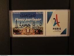 """FRANCE 2017 0,73 """"VENEZ PARTAGER"""" PARIS VILLE HOTE JEUX OLYMPIQUES DE 2024, SURCHARGE """" 13 01 2017  LIMA """" Avec Vignette - France"""