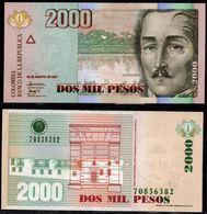 COLOMBIA - 2007- DOS PESOS  ( $ 2000 ) - UNCIRCULATED. CONDITION 9/10 - Colombie