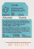602d/ HELSINKI, Finland. Used Tramway Ticket / Billet De Tram Utilisée (1996) - Tranvías