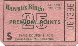 Harrah's Bingo Reno/Lake Tahoe - 25 Point Jackpot Coupon - You Win More Jackpots - Individual Tickets - Casino Cards