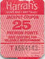 Harrah's Reno/Lake Tahoe - 25 Point Jackpot Coupon - Harrah's Logo On Back - Casino Cards