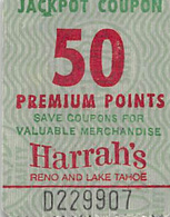 Harrah's Reno/Lake Tahoe - 50 Point Jackpot Coupon - You Win More Jackpots - Reverse Right Side Up - Casino Cards