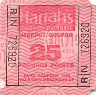 Harrah's Reno/Lake Tahoe - 25 Point Square Jackpot Coupon - Large N On Back - Casino Cards