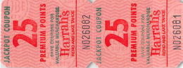 Harrah's Reno/Lake Tahoe Strip Of Two 25 Point Jackpot Coupons - You Win More Jackpots - Reverse Upside Down - Casino Cards