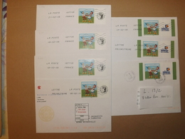 """(L13-2)    7 Timbres Sur Lettres Personnalisées  TPP """"Anniversaire """"  Enveloppes Tres Bon Etat - France"""