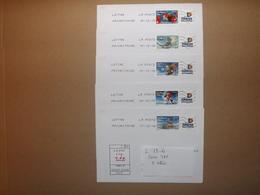"""(L13-4)    Série 5 Lettres ,Timbres Sur Lettres Personnalisées  TPP """"Meilleurs Voeux""""  Enveloppes Tres Bon Etat - France"""