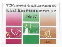 1982 ANPEX Commonwealth Games Brisbane Miniature Sheet MUH Exhibition Overprint Numbered - Blocks & Sheetlets