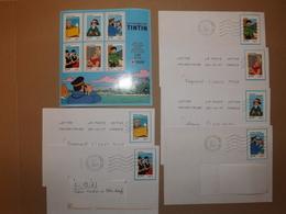 (L13-6)   1 Série   6 Lettres , + Bloc Tintin Neuf**  Enveloppes Tres Bon Etat - France