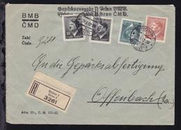 Hitler 10 H. (2x), 1,60 Kr. Und 2,40 Kr. Auf R-Briefder BMB-CMD Gepäckausgabe - Besetzungen 1938-45