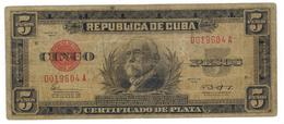 Cuba 5 Pesos Certificado De Plata, 1943, G/VG. Rare. SEE DESCRIPTION CAREFULLY. - Cuba