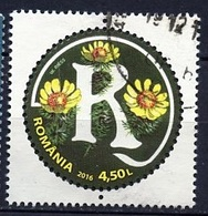 Roumanie - Rumänien - Romania 2016 Y&T N°(4) - Michel N°(?) (o) - 4,50l Alphabet Floral Lettre R - 1948-.... Republiken