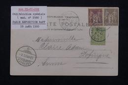 """FRANCE - Oblitération """" Paris Exposition Rapp """" Sur Type Sages Sur Carte Postale En 1900 Pour La Suisse - L 22707 - Marcophilie (Lettres)"""