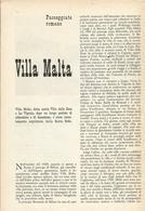 VILLA MALTA PASSEGGIATE ROMANE 1953  ARTICOLO RITAGLIATA DA GIORNALE (986) - Altri