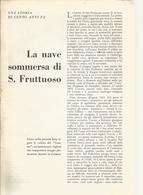 LA NAVE SOMMERSA DI SAN FRUTTUOSO 1953 ARTICOLO RITAGLIATO DA GIORNALE - Altri