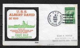 US 1968 Cachet Cover Ship Cancel From USS Albert David Cancellation !!,US NAVY,VF-XF (RN-6) RARE !! - Ships