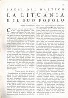 ARTICOLO RITAGLIATO DA GIORNALE 1939 LA LITUANIA E IL SUO POPOLO - Altri