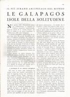 ARTICOLO RITAGLIATO DA GIORNALE 1939 LE GALAPAGOS LE ISOLE DELLA SOLITUDINE - Altri