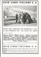 PUBBLICITA' RITAGLIATA DA GIORNALE 1939 AVIO LINEE ITALIANE S.A. - Pubblicitari