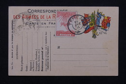 GRECE - Affranchissement Sur Carte FM De France En 1915 , Carte Non Circulé- L 22723 - Grecia