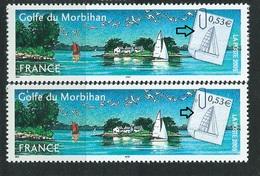 [28] Variété :  N° 3783 Golfe Du Morbihan Vignette Blanche Au Lieu De Grise + Normal ** - Variétés Et Curiosités