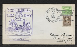 US 1933 Cachet Cover RARE,US Frigate Constitution Ship Cancellation ! Columbus Day, Ships (RN-6) - Ships
