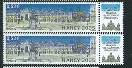 [28] Variété :  N° 3785 Nancy Ciel Bleu Gris Et Jaune Très Pâle + Normal ** - Variétés Et Curiosités