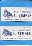 """-lot De 2-BUVARDS -""""La MORT Aux RATS"""" -Pate Phosphorée -L STEINER  Illustrés-années 40*-50 - Animaux"""