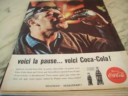 ANCIENNE PUBLICITE VOICI LA PAUSE COCA COLA 1960 - Affiches Publicitaires