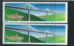 [28] Variété :  N° 3730 Viaduc De Millau Toits Brun Clair + Normal ** - Variétés Et Curiosités