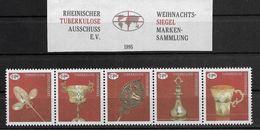 1692h: Vignettenserie Rheinischer Tuberkulose- Ausschuss, Fünferstreifen Ungummiert Wie Verausgabt - Krankheiten