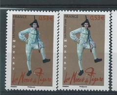 [28] Variété :  N° 3918 Noces De Figaro Habit Bleu Clair Au Lieu De Bleu-foncé + Normal ** - Errors & Oddities
