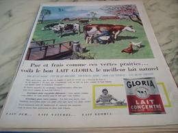 ANCIENNE AFFICHE  PUBLICITE  LAIT NATUREL GLORIA 1960 - Affiches