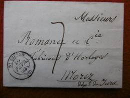 LETTRE DE St GILLES TAXE 7 VIA MOREZ A ROMANET HORLOGER FABRICANT D HORLOGES 1838 - Storia Postale