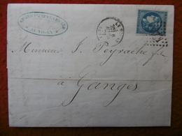 LETTRE TIMBRE CERES EMISSION DE BORDEAUX CACHET LE VIGAN GC 4204 VIA GANGES 1871 - Marcofilia (sobres)