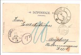 Porto Controlle Augsburg 1903.Pkt Österreich-Böhmen-Tschechien - Deutschland