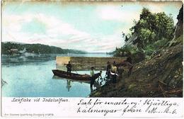 Litho Aland, Laxfiske Vid Indaselfven Mit Poststempel Mariehamn 1908 - Finlande