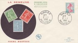 FDC 1233 FRANC NOUVEAU / SEMEUSE PIEL - PARIS 2/1/60 - FDC