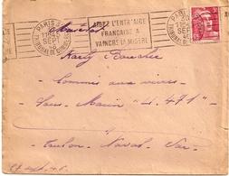 17H2  ---  75   PARIS 118  Adressée à Un Matelot Sous-marin U.471   Toulon Naval - Postmark Collection (Covers)
