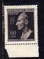 BOHEMIA AND MORAVIA BOEMIA E MORAVA Böhmen Und Mähren GERMAN OCCUPATION1943 Deathmask Of Reinhard Heydrich 60h+4.40k MNH - Boemia E Moravia