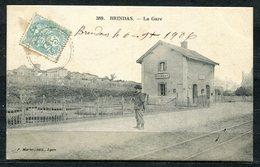 CARTOLINA CV2496 FRANCE BRINDAS La Gare, Stazione, 1906, Formato Piccolo, Viaggiata, Ottime Condizioni - France