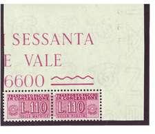 REPUBBLICA  - ANNO 1953 - RUOTA - PACCHI IN CONCESSIONE - 110 LIRE LILLA ROSA - GOMMA INTEGRA ** MNH - 1946-.. République