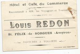 ST. FELIX - DE - SORGUES , AVEYRON : HOTEL ET CAFE DU COMMERCE LOUIS REDON - Cartes De Visite