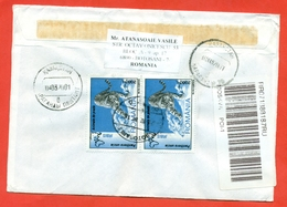 Romania 2000. Registered Envelope Is Really Past Mail. - Big Cats (cats Of Prey)