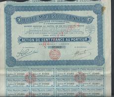 ACTION HÔTEL MAJESTIC CANNES NOTAIRE M MAILLARD À SAINT DENIS X PARIS 1920 : - Pétrole