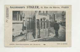 """Billet  De ASCENSEURS """" STIGLER """" - Paris , 11 Rue De Hâvre - NOT POSTCARD ( 2 Scans ) - Non Classificati"""