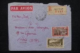 GUYANE - Enveloppe En Recommandé De Cayenne Pour Paris Par Avion En 1935 , Affranchissement Plaisant - L 22753 - Lettres & Documents