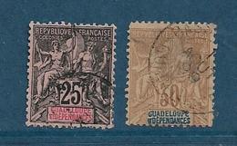 Colonies   Timbres De Guadeloupe  De 1892   N°34 Et 35 Oblitéré Cote 24€ - Oblitérés