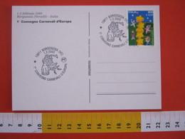 A.08 ITALIA ANNULLO - 2003 BORGOSESIA VERCELLI 1 CONVEGNO CARNEVALI D' EUROPA MASCHERA FESTA CARD BANDIERE - Carnevale