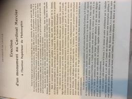 Erection Monument Au Cardinal Mercier 3 Pages - Old Paper